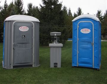 Portable toilets and hand wash station